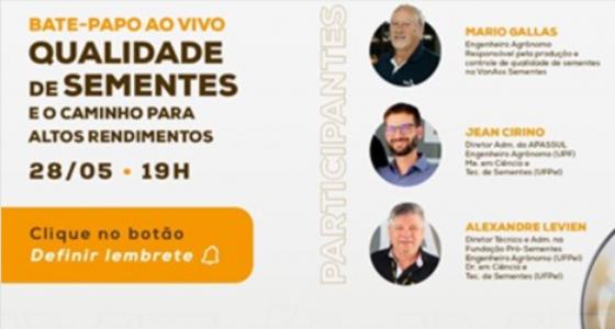Engenheiro Mário Gallas, da Van Ass Sementes participa de Live no Canal Minuto da Terra
